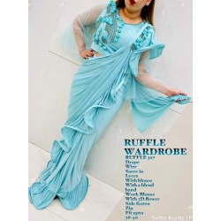Party wear ruffle saree with flower work readymade blouse-RAZ-RUFFLE-307